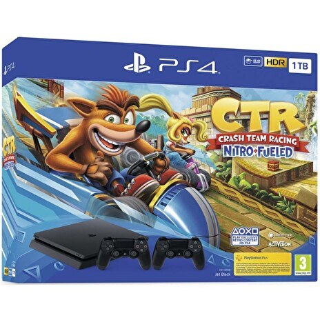 PS4 - Playstation 4 1TB Black, F Chasiss (slim) + Crash Team Racing + DS4