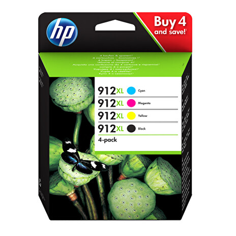 HP 912XL High Yield C/M/Y/K Original Ink Cartridge 4-Pack